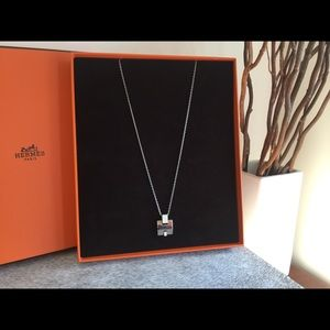 "Hermes H silver ""Eileen"" necklace and pendant"